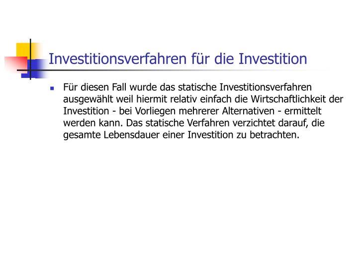 Investitionsverfahren für die Investition