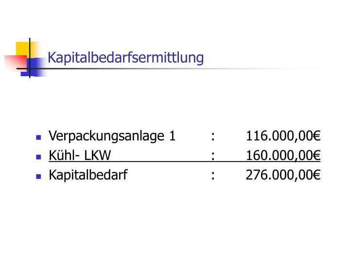 Kapitalbedarfsermittlung