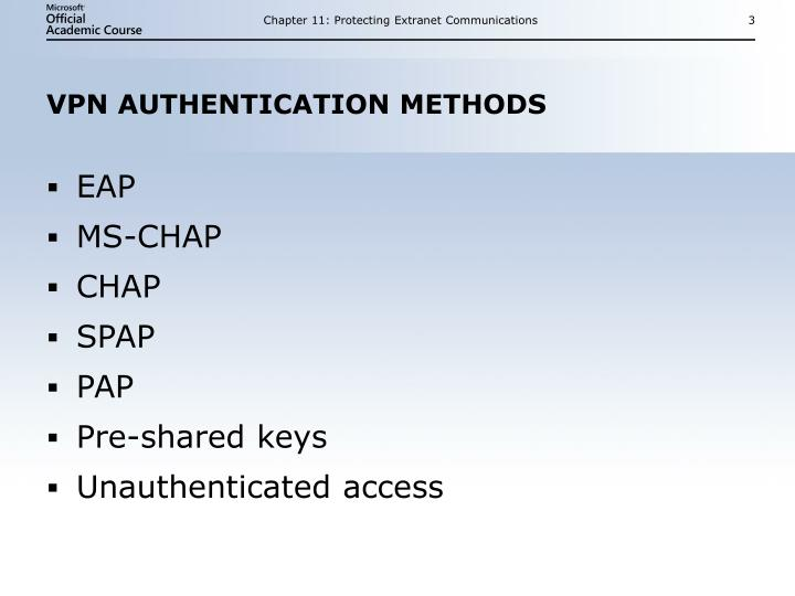 Vpn authentication methods