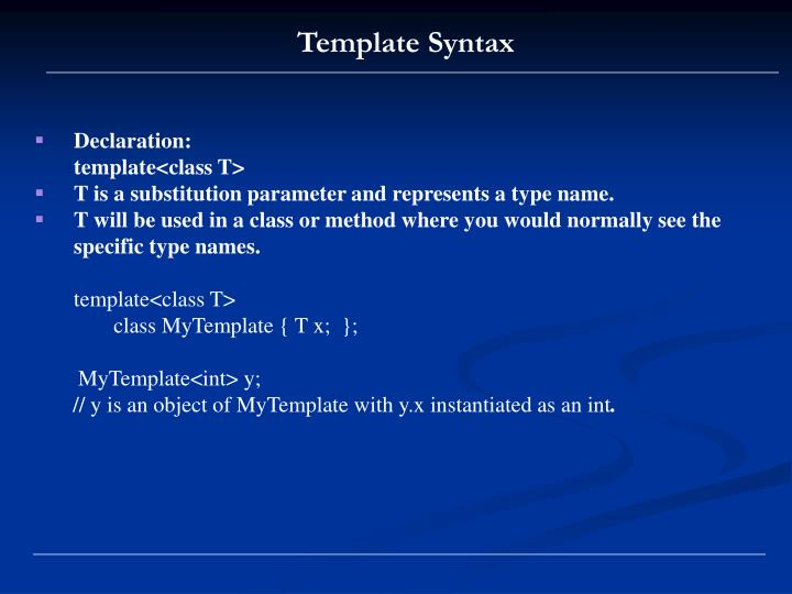 Template Syntax
