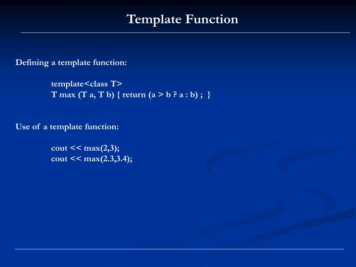Template Function