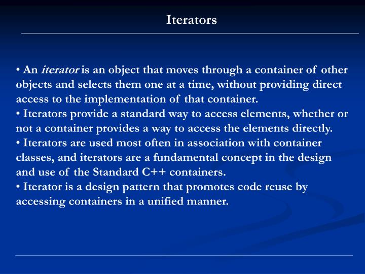 Iterators