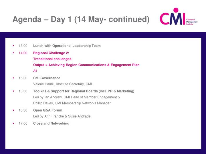 Agenda day 1 14 may continued