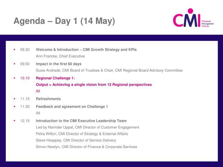 Agenda – Day 1 (14 May)