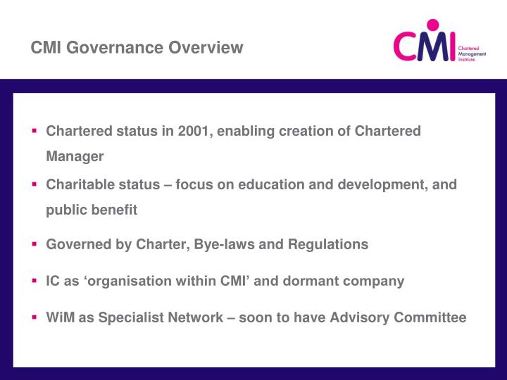 CMI Governance Overview
