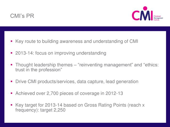CMI's PR
