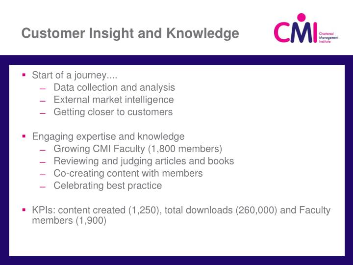 Customer Insight and Knowledge