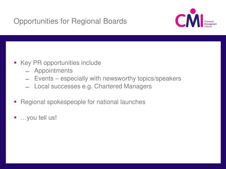 Opportunities for Regional Boards
