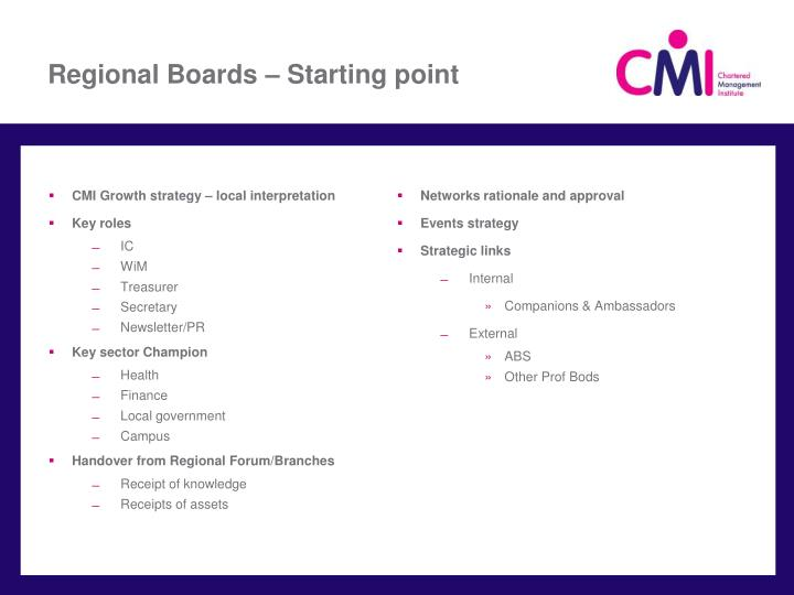Regional Boards – Starting point