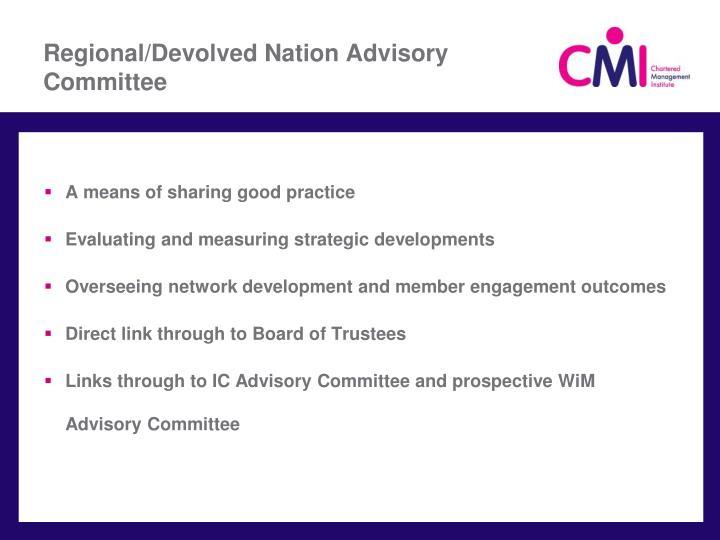 Regional/Devolved Nation Advisory Committee