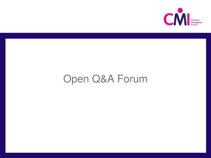 Open Q&A Forum
