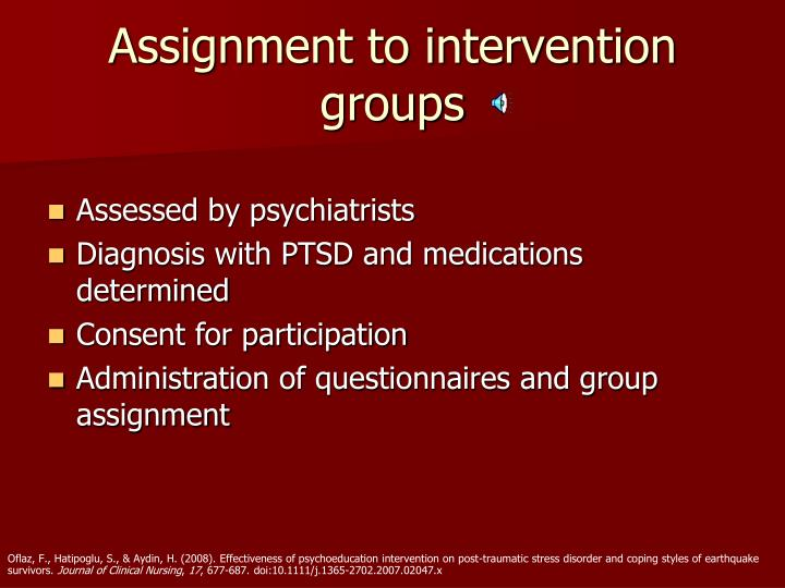 Assignment to intervention groups