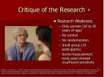 critique of the research1