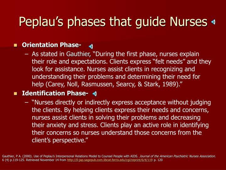 Peplau's phases that guide Nurses