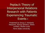 peplau s theory of interpersonal relations research with patients experiencing traumatic events