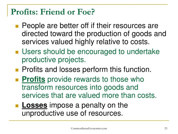 Profits: Friend or Foe?