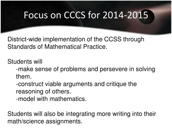Focus on CCCS for 2014-2015
