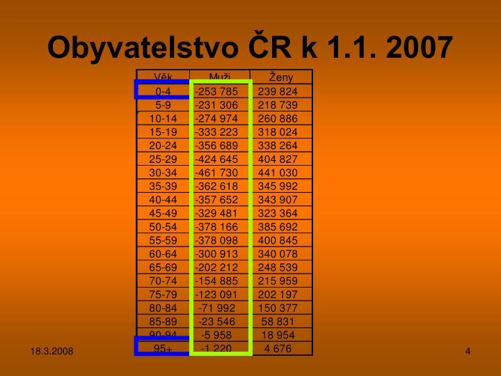 Obyvatelstvo ČR k 1.1. 2007