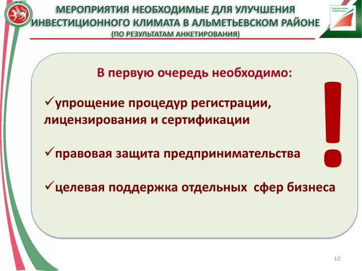 Мероприятия необходимые для улучшения инвестиционного климата в Альметьевском районе