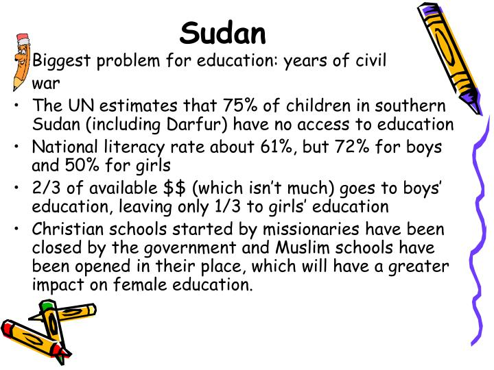 education in sudan Education in sudan is free and compulsory for children aged 6 to 13 years primary education consists of eight years, followed by three years of secondary education the former educational ladder 6 + 3 + 3 was changed in 1965.