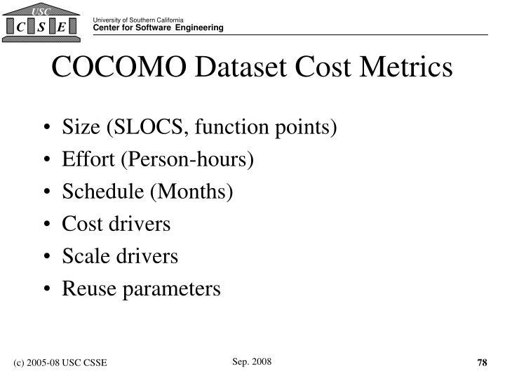 COCOMO Dataset Cost Metrics