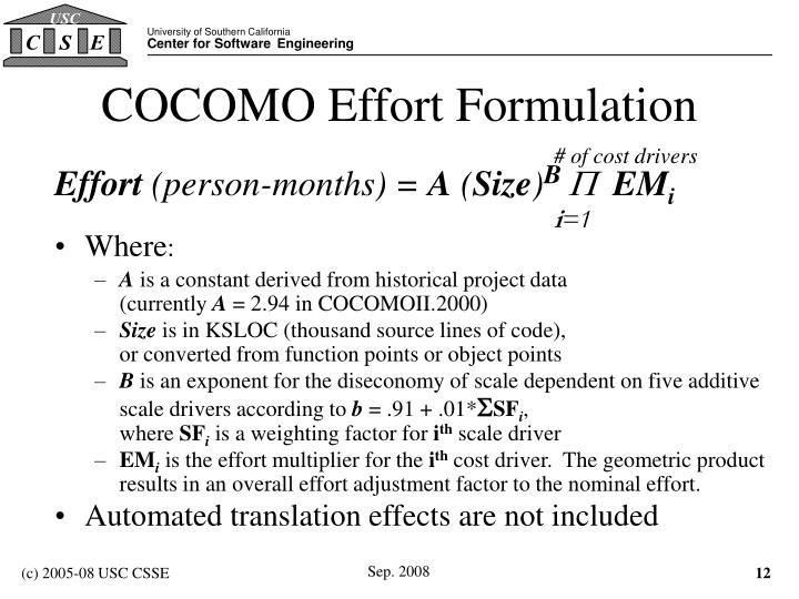 COCOMO Effort Formulation