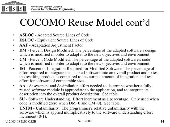 COCOMO Reuse Model