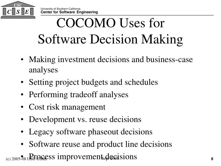 COCOMO Uses for