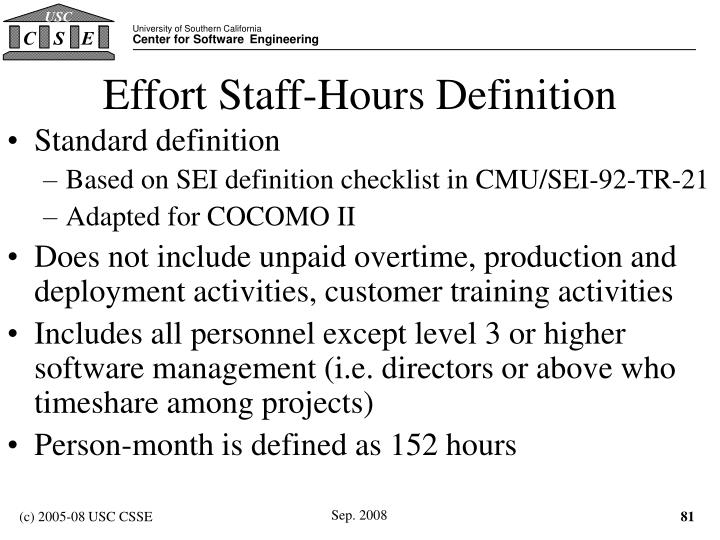 Effort Staff-Hours Definition