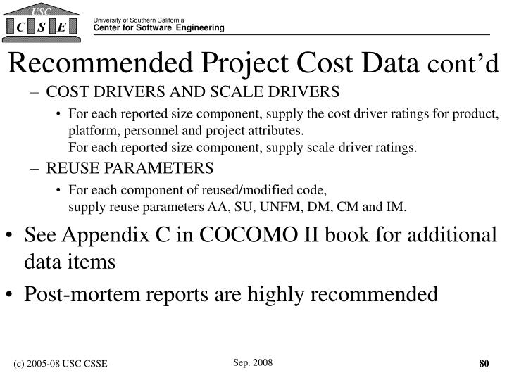 Recommended Project Cost Data