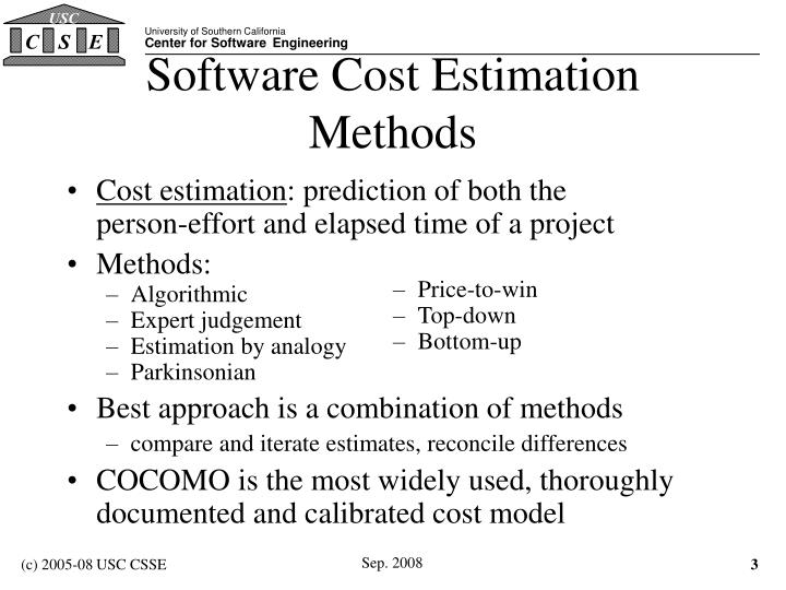 Software cost estimation methods