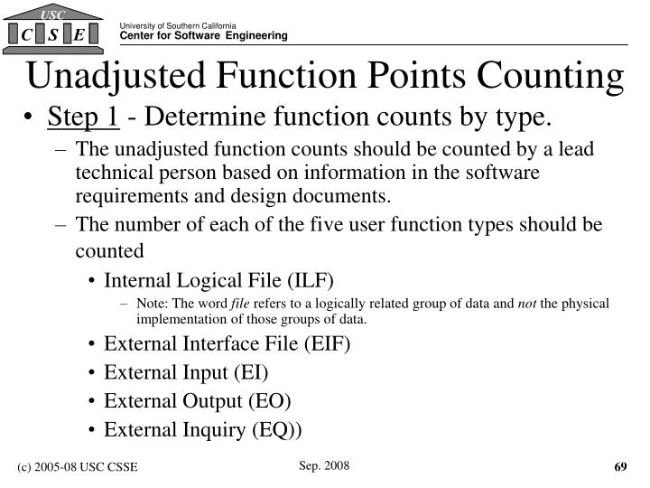 Unadjusted Function Points Counting