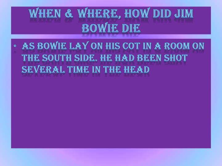When & where, how did Jim bowie die