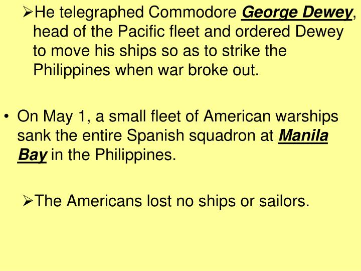 He telegraphed Commodore