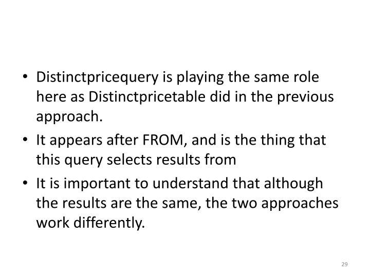 Distinctpricequery