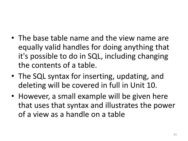 The base table name and the view name are equally valid handles for doing anything that it's possible to do in SQL, including changing the contents of a table.