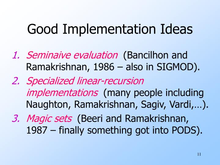 Good Implementation Ideas
