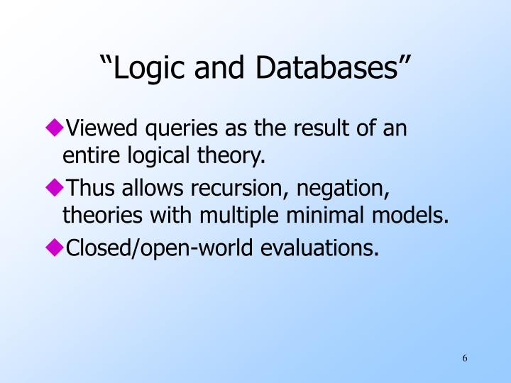 """Logic and Databases"""