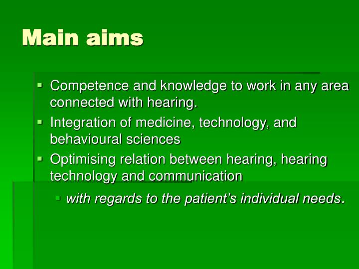 Main aims