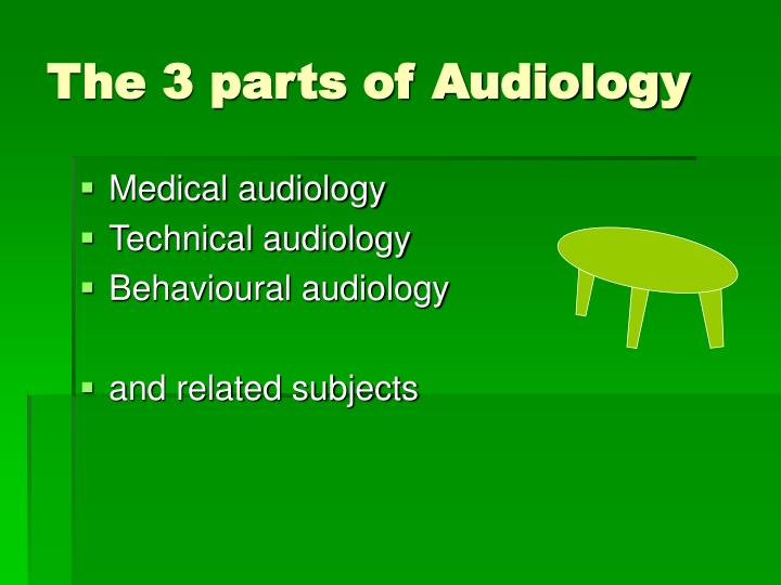 The 3 parts of Audiology