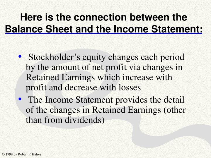 Here is the connection between the Balance Sheet and the Income Statement: