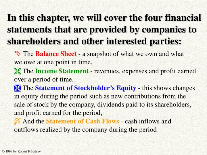 In this chapter, we will cover the four financial statements that are provided by companies to share...