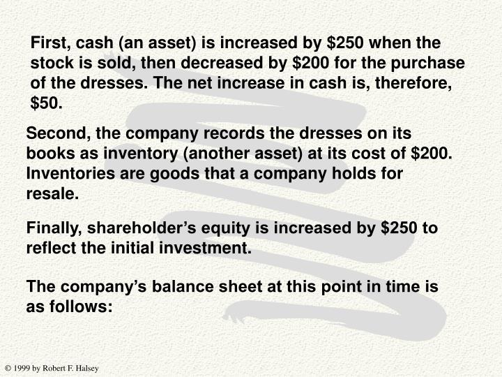 First, cash (an asset) is increased by $250 when the stock is sold, then decreased by $200 for the purchase of the dresses. The net increase in cash is, therefore, $50.