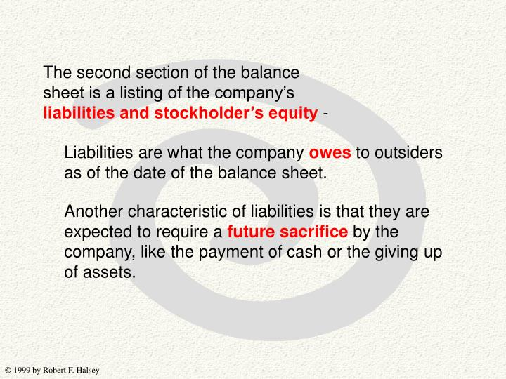 The second section of the balance sheet is a listing of the company's