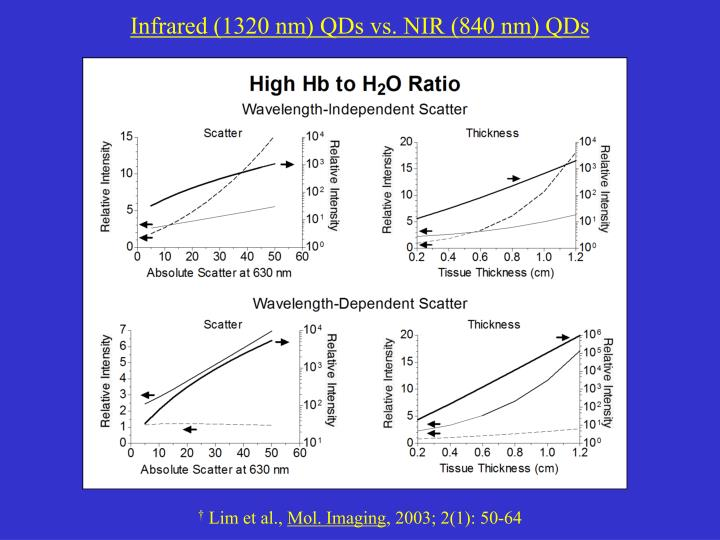 Infrared (1320 nm) QDs vs. NIR (840 nm) QDs