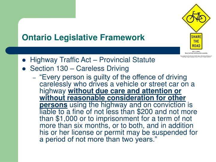 Ontario Legislative Framework