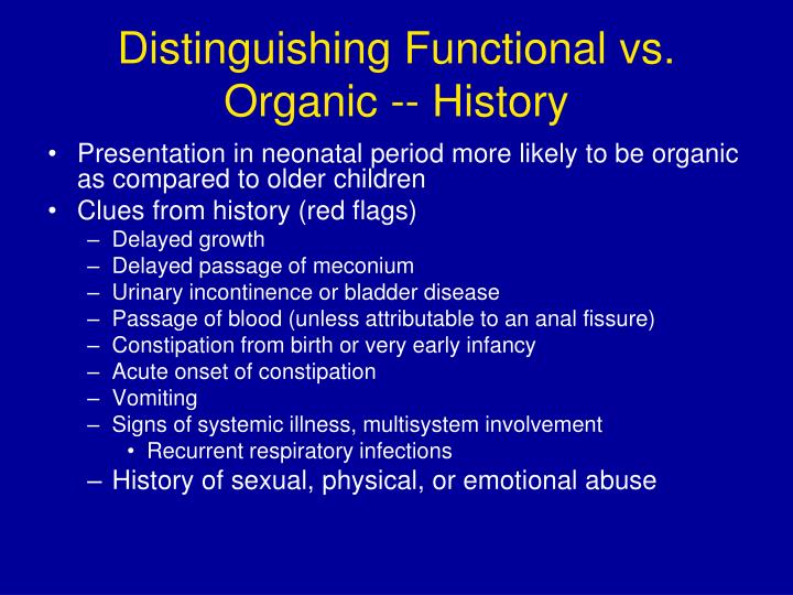 Distinguishing Functional vs. Organic -- History