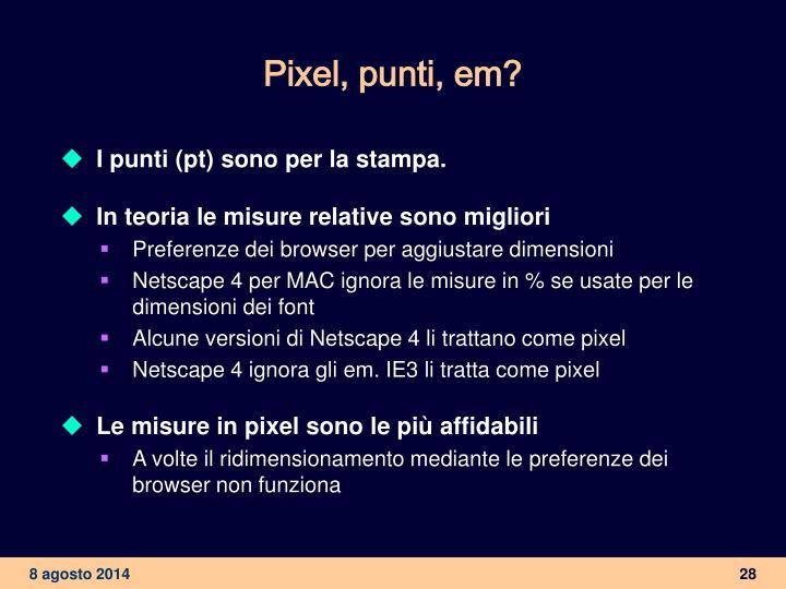 Pixel, punti, em?