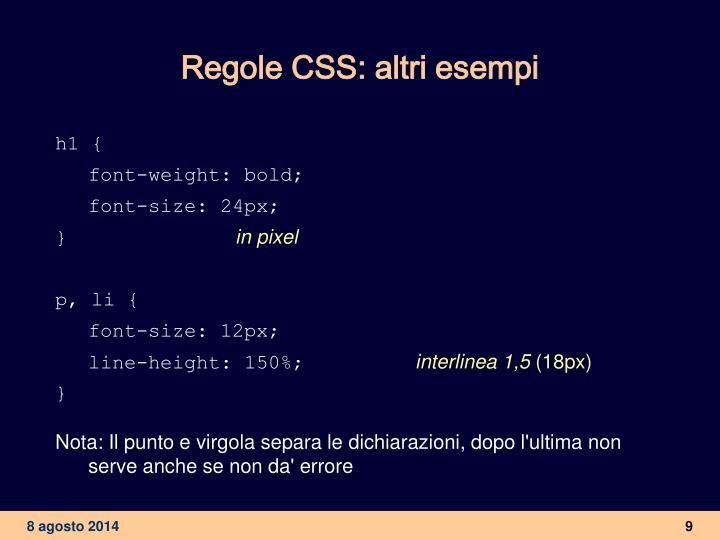 Regole CSS: altri esempi