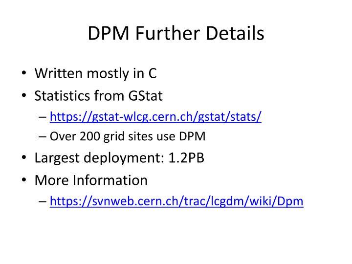 DPM Further Details